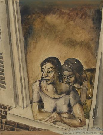 CHARLES WHITE (1918 - 1979) Untitled (Two Women at