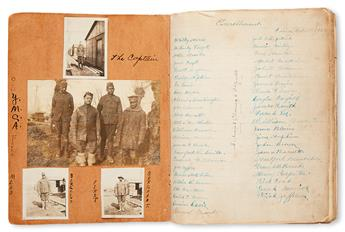 (MILITARY--WORLD WAR I.) WRIGHT, CHARLES R. Scrapbook kept by a private in the 308th Labor Regiment at Camp Montoir in France.