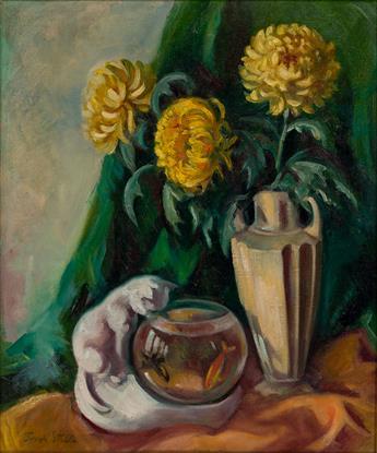 JOSEPH STELLA Still Life with Chrysanthemums and Goldfish.