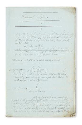 (NEW YORK--LONG ISLAND.) Cook, Luther D. Original manuscript of A Brief History of . . . Southampton . . . also of the Whale Fishery.