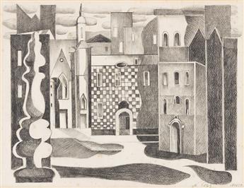 ALEXANDRA EXTER (1882-1949) Constructivist cityscape. [THEATER / SET DESIGN / CONSTRUCTIVISM]
