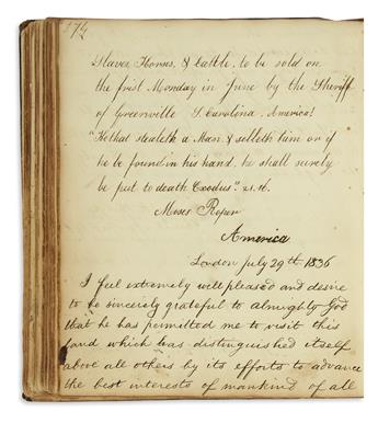 (SLAVERY AND ABOLITION.) Autograph book including
