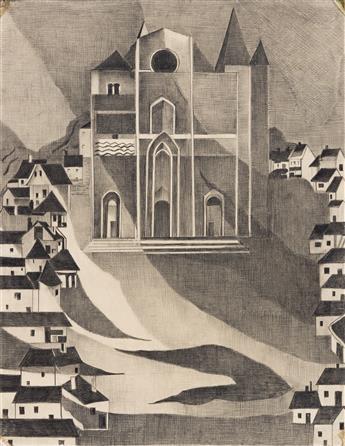 ALEXANDRA EXTER (1882-1949) Village Church. [THEATER / SET DESIGN / CONSTRUCTIVISM]