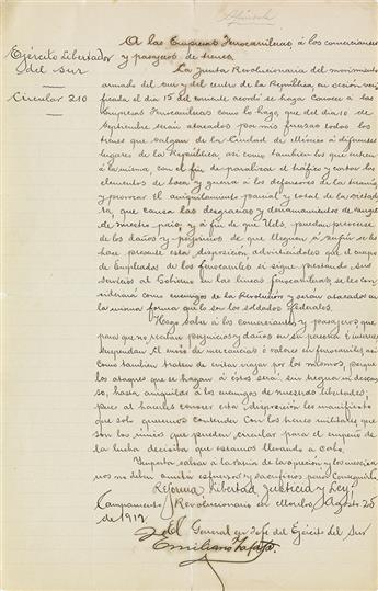 (MEXICO.) File on the Mexican counterinsurgency efforts against the Zapatistas, including a Letter Signed by Emiliano Zapata.