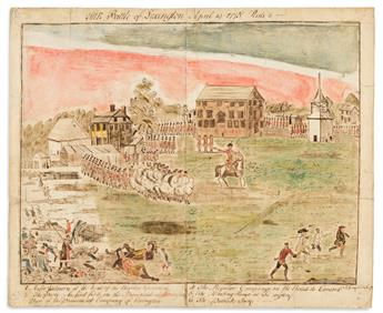 (AMERICAN REVOLUTION--1775.) St. John Honeywood, artist. The Battles of Lexington and Concord, after the famous engravings by Doolittle