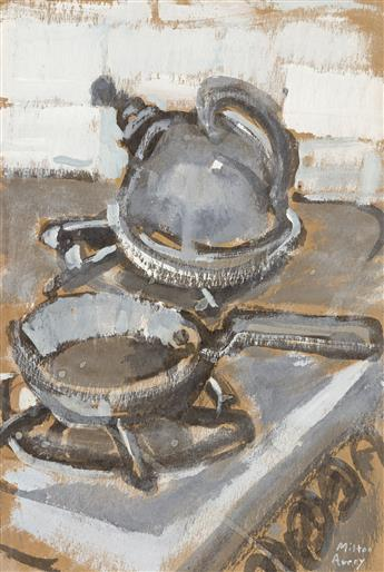 MILTON AVERY Stove Top Still Life with a Tea Kettle and Pan.