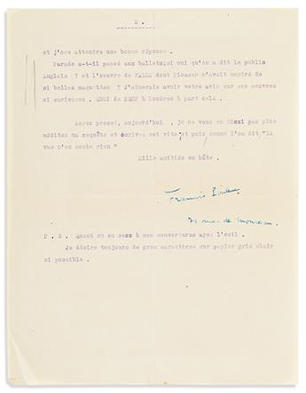 POULENC, FRANCIS. Two items: Typed Letter Signed * Autograph Musical Quotation Signed and Inscribed.
