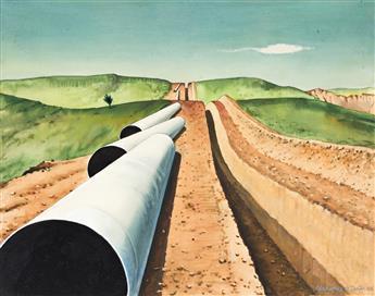 CLARENCE HOLBROOK CARTER (1904 - 2000, AMERICAN) i) Pipeline, ii) Plowing, iii) Coal.