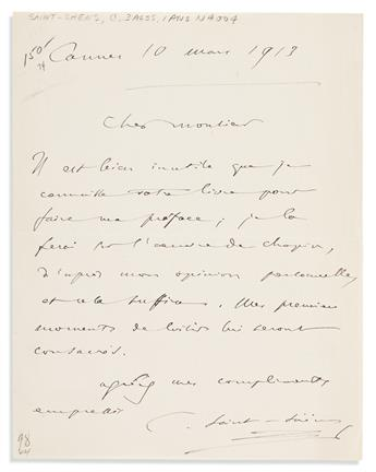 SAINT-SAËNS, CAMILLE. Group of three Autograph Letters Signed and an Autograph Note Signed, C. Saint-Saëns, to Director of the Chopin