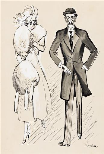 RUDOLF BAUER (1889-1953) Fashionable couple with poodle * Fashionable couple in dress coats.