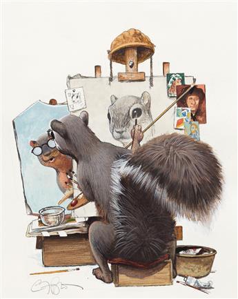 "C.F. PAYNE (1956- ) Micawber - Imitating Norman Rockwell's ""Triple self-portrait."" [CHILDRENS / SQUIRREL / NEW YORK CITY / JOHN LITHGO"