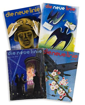 VARIOUS ARTISTS.  DIE NEUE LINIE. Group of 14 issues. 1938-1943. Each 14½x10½ inches, 36¾x26½ cm.