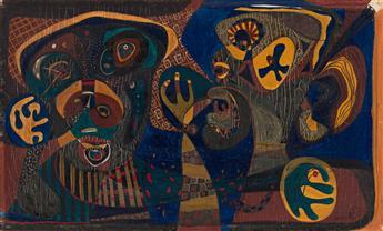 ROBERT BARRELL (1912 - 1995, AMERICAN) Untitled, (Cat and Bird).
