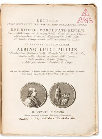 Benigni, Fortunato. Authors Presentation Copy with ALS. Lettera Sugli Scavi Fatti nel Circondario dellAntica Treja.
