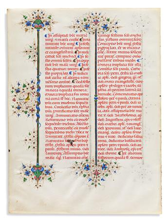 Illuminated Manuscript Leaves, Seven Examples.
