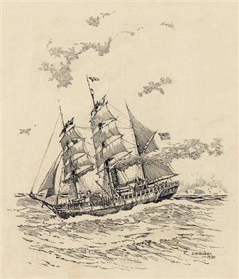 ISAAC WALTON TABER. Group of Three Sailing Scenes.