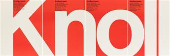 MASSIMO VIGNELLI (1931-2014).  KNOLL AU LOUVRE. Four-part poster. 1972. Each sheet 25½x19½ inches, 64¾x49½ cm. Arti Grafiche Amilcare P
