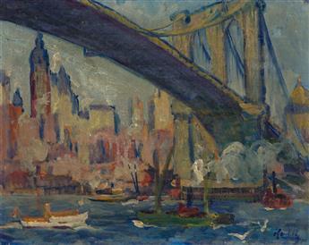 LEON KROLL Brooklyn Bridge and Lower Manhattan.
