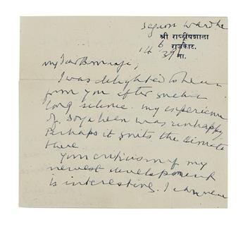 GANDHI, MOHANDAS K. Autograph Letter Signed, MKGandhi, to Savak R. Bomanji (My dear Bomanji),