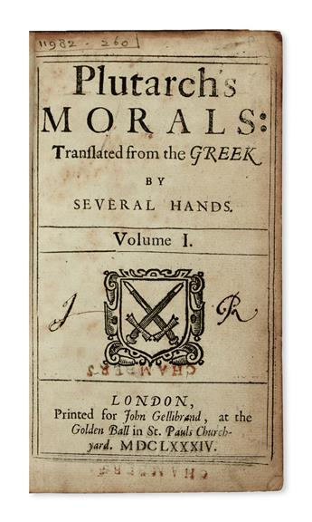 BINDING--Plutarch-Morals--Vol-1-(of-5)-only--1684--In-broken