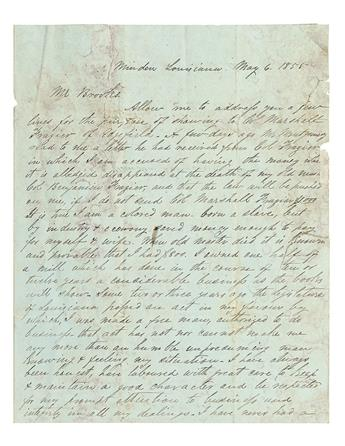 (SLAVERY AND ABOLITION) FRAZIER FAMILY. Small but rich collection of material relative to the plantation and slave owner Benjamin Frazi