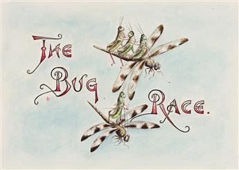 """LILLIAN C. DAVIDS (active circa late 19th-early 20th centuries) """"Doings of the Grasshoppers. The Bug Race."""" [CHILDRENS / INSECTS]"""