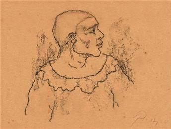 PABLO PICASSO Arlequin de profil à la collerette.