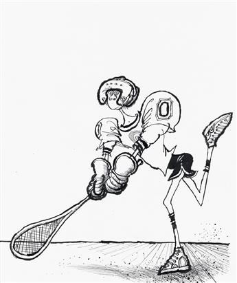 (CARTOONS) RONALD SEARLE. Group of 7 Sports Illustrations.