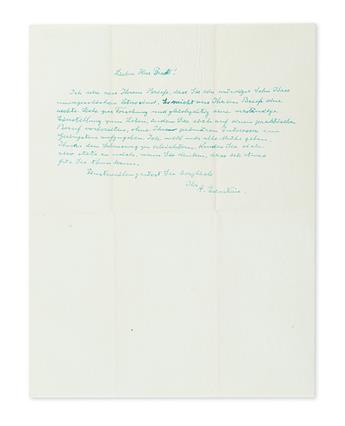 (SCIENTISTS.) EINSTEIN, ALBERT. Group of 4 letters Signed, A. Einstein, each to Helmut L. Bradt, in German, including an Autograph Le