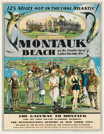 DESIGNER UNKNOWN.  MONTAUK BEACH. Circa 1929. 25½x19¾ inches, 65x50 cm. Winchell Publicity Service, New York.