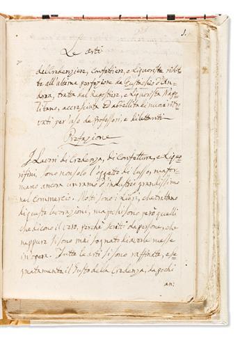 Italian Culinary Manuscript on Paper. Le Arti del Credenziere, Confetturiere, e Liquorista.