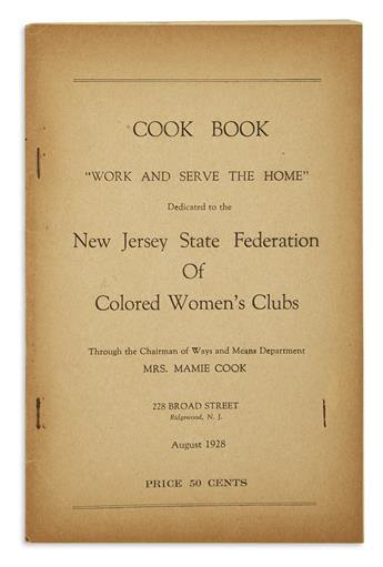 (FOOD AND DRINK.) Cook, Mamie; compiler. Cook Book