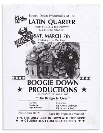 (MUSIC--HIP HOP.) Flyer for an early Boogie Down Productions show, with a signed copy of By All Means Necessary.