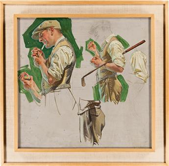 JOSEPH CHRISTIAN LEYENDECKER (1874-1951) Golfer Lighting a Cigarette. [GOLF / SMOKING]