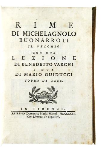 BUONARROTI, MICHELANGELO, the Elder. Rime.  1726
