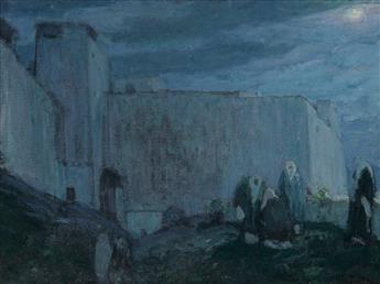 HENRY OSSAWA TANNER (1859 - 1937) Moonrise by Kasbah (Morocco).