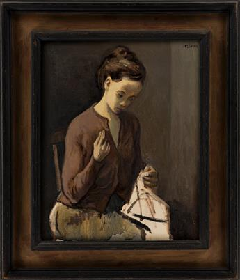 MOSES SOYER A Woman Sewing.