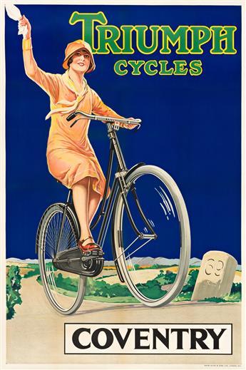DESIGNER UNKNOWN.  TRIUMPH CYCLES / COVENTRY. Circa 1929. 60¼x40 inches, 153x101½ cm. David Allen & Sons Ltd., London.