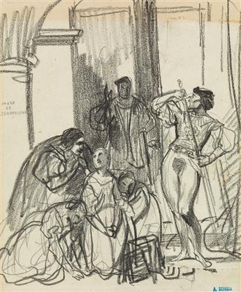ACHILLE-DEVÉRIA-(Paris-1800-1857-Paris)-Group-of-8-drawings