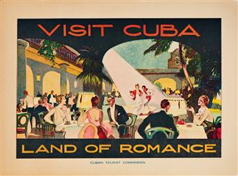 R. Lillo (Dates Unknown).  VISIT CUBA / LAND OF ROMANCE. Small format poster. Circa 1938.