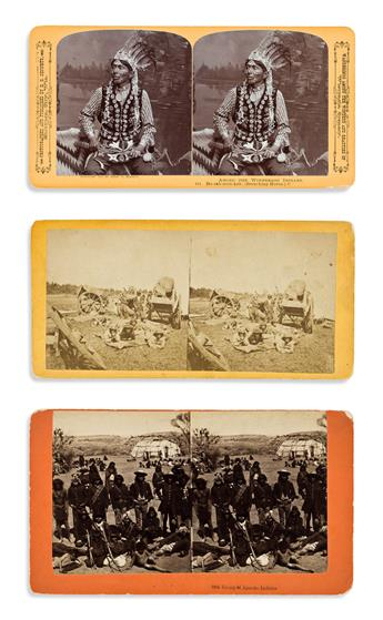 (AMERICAN INDIANS--PHOTOGRAPHS.) Group of 11 cartes-de-visite, tintypes, cabinet cards, and stereoviews.