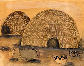 IRENE V. CLARK (1927 - 1984) Untitled (African Huts).