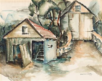 NORMAN LEWIS (1909 - 1979) Two Barns.