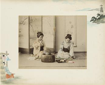 (JAPAN--TAMAMURA) A red lacquer album with 50 hand-colored photographs of beautiful geishas, flowering gardens, wooded landscapes, and