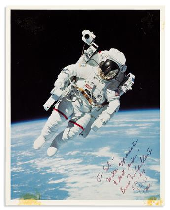 (ASTRONAUTS.) MCCANDLESS II, BRUCE. Photograph Signed and Inscribed, To Ed / With appreciation / & best wishes / Bruce McCandless II /
