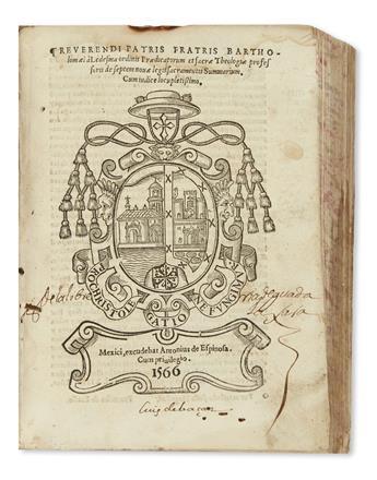 (MEXICAN IMPRINT--1566.) Ledesma, Bartholomé de. De septem novae legis sacramentis summarium.