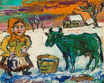 DAVID DAVIDOVICH BURLIUK (1882-1967) Milk Maid with Green Cow.