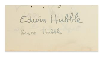 (SCIENTISTS.) HUBBLE, EDWIN. Signature, on a leaf removed from a guest book kept by Natalie Hays Hammond at her Saint Briavel home in G