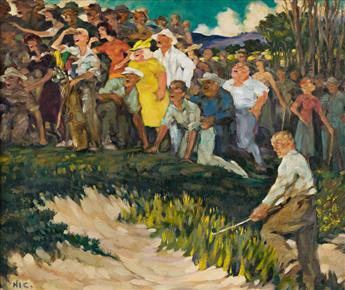 HENRY IVES COBB, JR. (1883-1974) Long Bunker Shot. [GOLF]