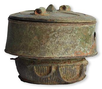 (SLAVERY AND ABOLITION--WEST AFRICA.) A fine excavated lost wax bronze Kuduo ritual burial jar, made for a King, or someone of great